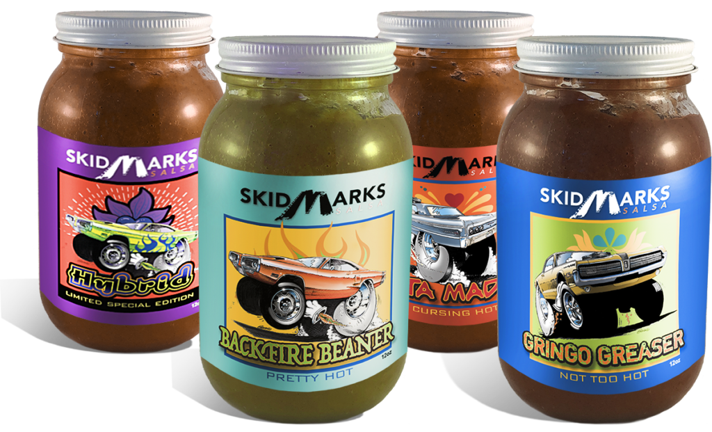Heritage Autopro's Skidmarks Salsa comes in 3 levels of spicy heat: Gringo Greaser, Backfire Beaner, and Puta Madre.
